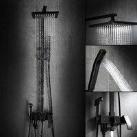 Auswind Классическая твердая латунь Черный тела, набор для душа квадратный душ смеситель для душа черный матовый для ванной продукты