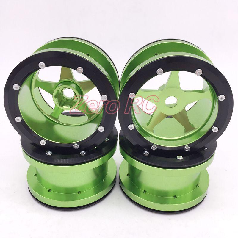 4PCS 1 10 RC AXIAL Wraith 2 2 5 Spoke ALLOY ALUMINUM Beadlock Wheel Rim GREEN
