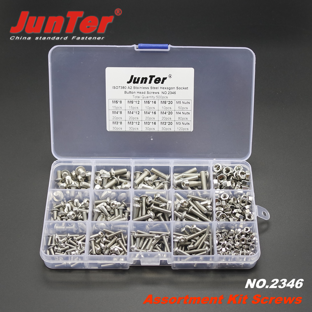 500pcs M3 M4 M5 A2 Stainless Steel ISO7380 Button Head Allen Bolts Hexagon Socket Screws With Nuts Assortment Kit NO.2346 m3 m4 m5 steel head screws bolts nuts hex socket head cap and nuts assortment button head allen bolts hexagon socket screws kit
