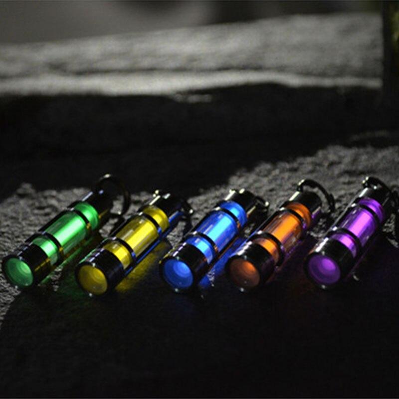 EDC lumière automatique extérieure 25 ans titane Tritium porte-clés couteau perles porte-clés Tube Fluorescent sauvetage lumières de secours