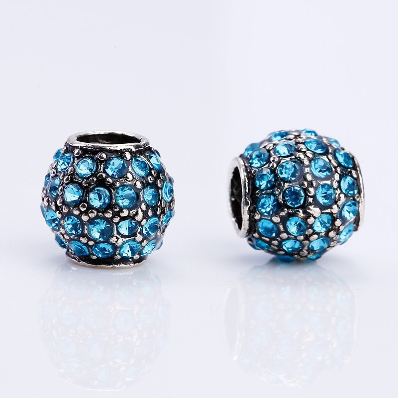 Kupla Vintage Silver Round Beads fit Pandora Charms Diy Fashion Color Rhinestone Metal Zinc Alloy Beads for Jewelry Making ...