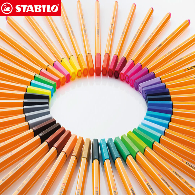 25pcs STABILO Point 88 Fineliner Fiber Pen Art Marker 0.4mm Felt Tip Sketching Anime Artist Illustration Technical Drawing Pens