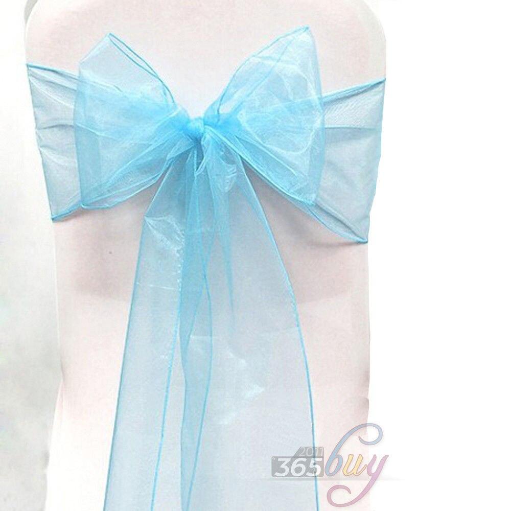 [Fly Eagle ] 10 Uds Silla de Organza fajas pajarita para boda cubierta de banquete fajas #19 azul claro