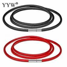 Черный кожаный шнур для ожерелья 41 70 см 1 3 мм Вощеная Веревка