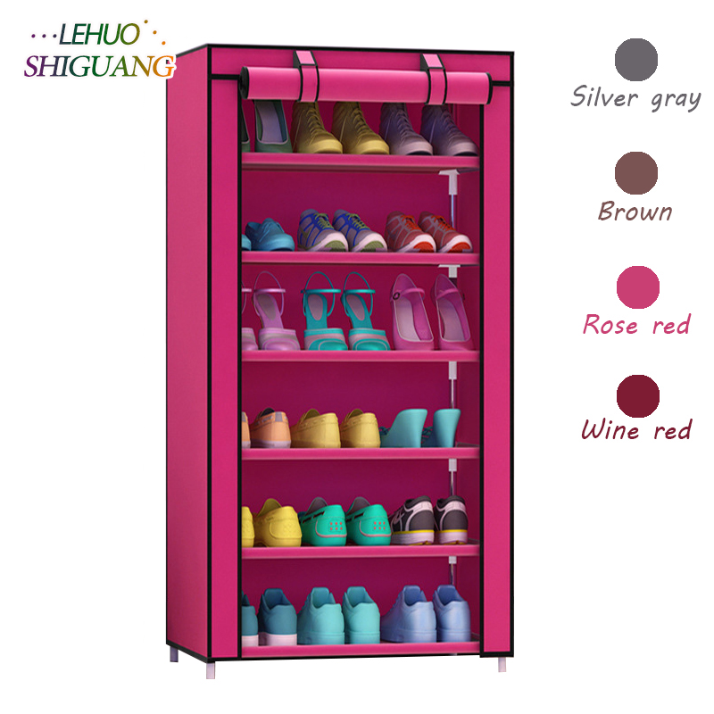 7-layer 6-grid Shoe cabinet Non-woven fabrics shoe rack organizer removable shoe storage for home living room furniture7-layer 6-grid Shoe cabinet Non-woven fabrics shoe rack organizer removable shoe storage for home living room furniture