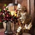 Беззвучная Золотая смоляная неполная мужская маска для домашнего декора аксессуары Статуэтка украшение для гостиной предметы офисная смо...