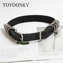 Luxury cool tide Women Second Cowskin Gothic Punk Rock Two Metal Circle Ring Chain Waist Belts accessories Ins Style TOYOOSKY