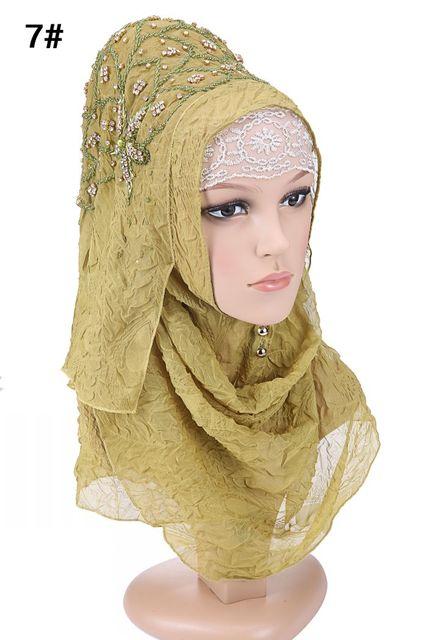 Diseño de moda de alta calidad de gasa bordado Turco diamantes estilo istamic velo hijab musulmán hijab para las mujeres 7 colores