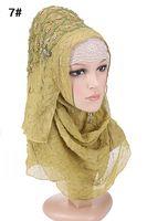 Fashion design hoge kwaliteit chiffon borduren Turkse diamonds hijab istamic stijl hoofddoek moslim hijab voor vrouwen 7 kleuren
