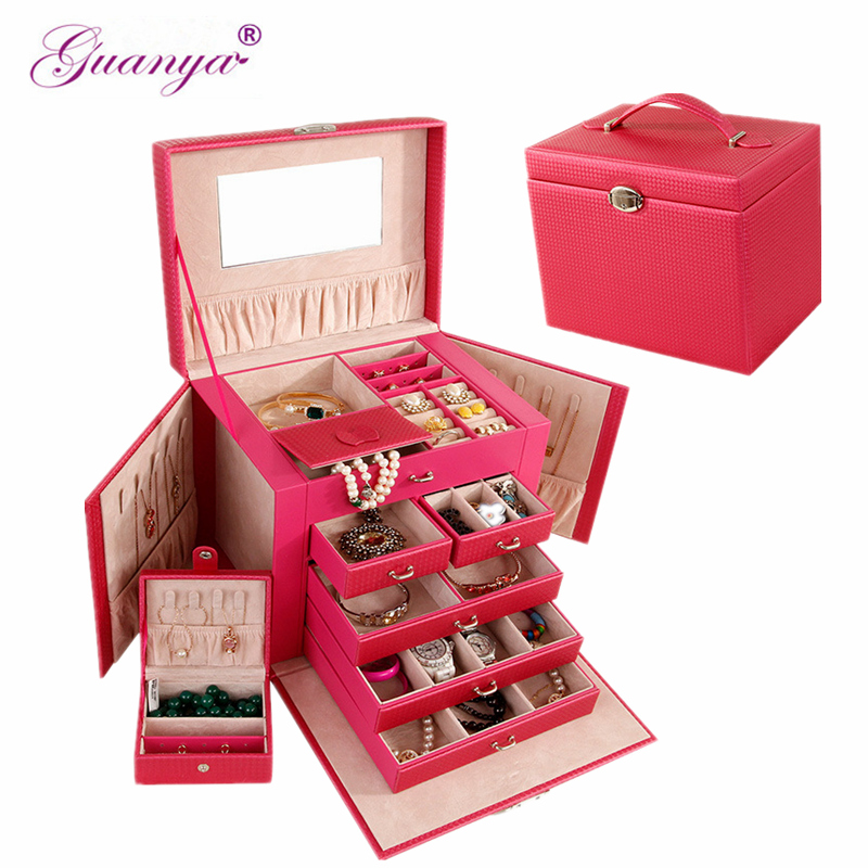 Guanya Brand Large Leather Jewelry Box Watch Beads Earrings Rings Accessory Storage Case Black White Red Organizer case Gift