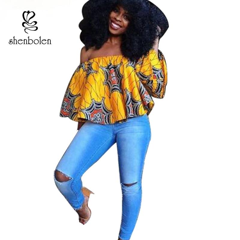 2017 african clothing tops for women wax batik fashion ankara printing pure cotton sexy Straight collar shirt