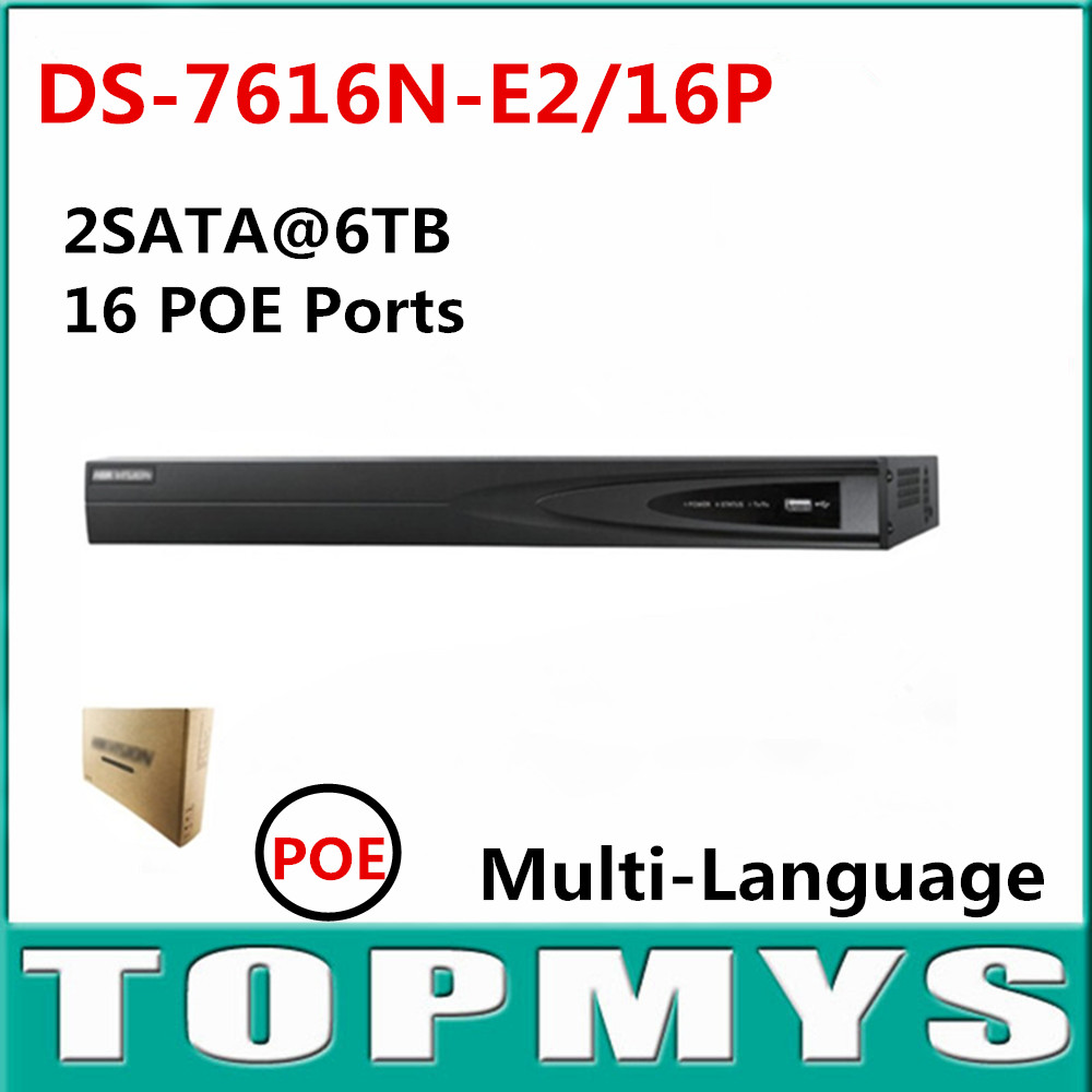 Multi language Version DS 7616N E2 16P Network NVR with 16POE port Full HD 5MP for