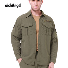 Men Shirt Removable Quick Dry Breathable Tactical Shirt Summ