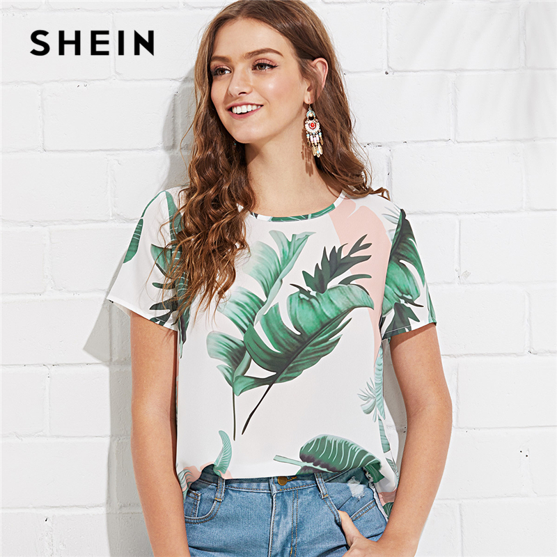 SHEIN Multicolor Weekend Casual Jungle Leaf Print Keyhole Back Round Neck Short Sleeve Blouse Summer Women Going Out Shirt Top