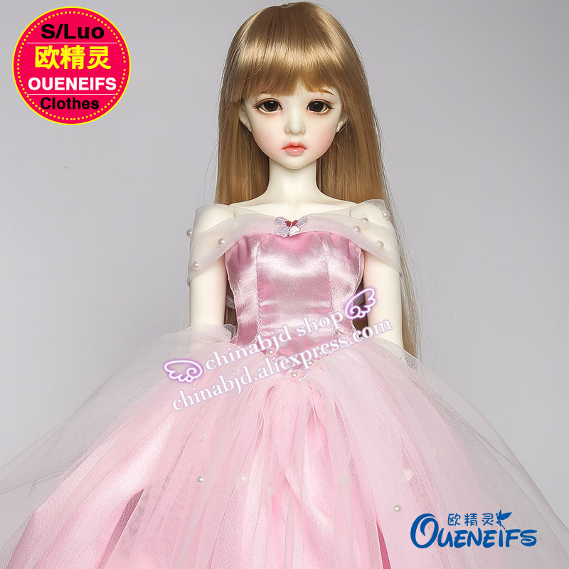 OUENEIFS free shipping Pink Dresses Beaded Applique Boat Neck Puffy Bridal Gown bjd sd clothes1/3 body ,no doll or wig YF3-70 karmart cathy doll 2 in 1 vitamin c tint tinted gluta gloss pink lip korea free shipping
