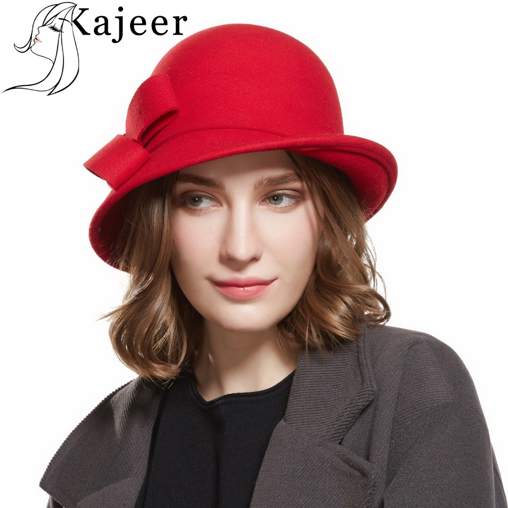 8f65f5212aa59 Detail Feedback Questions about Kajeer Women s Autumn Winter Trilby Hat  Female Fedoras Wool Felt Dome Floral Bowler Women Fedora Hats Solid Casual  Fedora ...