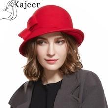 Kajeer Outono Inverno Chapéu de Feltro das Mulheres do Sexo Feminino chapéu  de Feltro de Lã Sentiu Cúpula Floral Mulheres Fedora. 4efef223c39