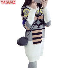 YAGENZ Women Knitting Sweater Pullover Autumn Winter Fashion Long Section White Women's Clothing Loose Sweater Knitting Tops 444
