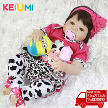 KEIUMI Реалистичная Косплей розовая корова возрожденная менина Boneca 23 ''полный силиконовый винил Возрожденные куклы игрушки для детей подарки на день рождения