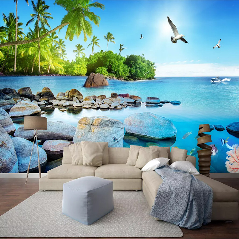 Custom Wall Mural Paper Beautiful 3D Seascape Island Poster Photo Wallpaper Living Room Bedroom Home Decoration Wall Painting