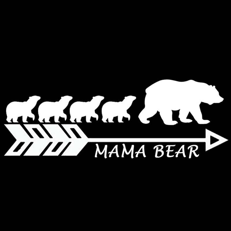 YJZT 17.8CM*6.3CM MAMA BEAR Vinyl Car Sticker Motorcycle Mother Bears Big Family Decal Black Silver C10-01112