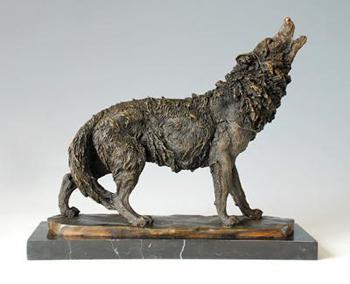 Décoration de bijoux en cuivre (loup hurlant loup AL-213) sculpture Hongxin.