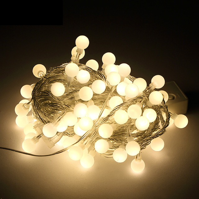 Holiday festival light 10M 100led waterproof led string lights ball garland outdoor decorations for party/garden/home EU US plug