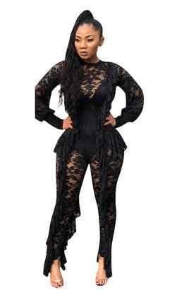 Длинный рукав сексуальный прозрачный черный кружевной комбинезон для женщин прозрачные оборки вечерние Клубные цельный одиночный обтягивающий спортивный комбинезон, комбинезоны AE173