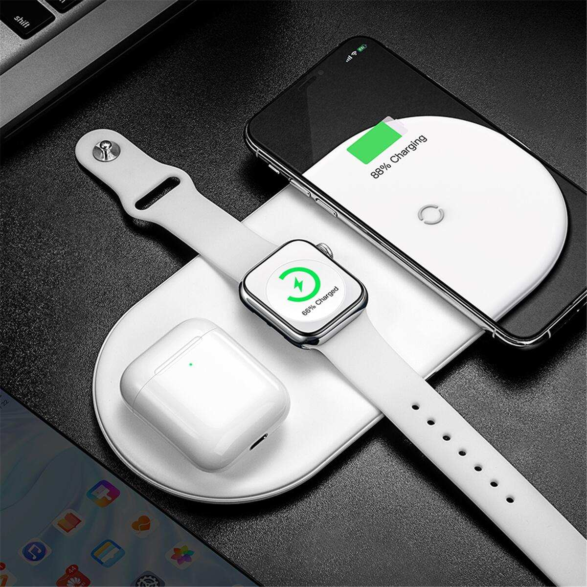 for Baseus 3 in 1 Qi Wireless Charger For Airpod for Apple Watch 4 3 2 for iWatch Fast Wireless Charging Pad For iPhone Xs Max X