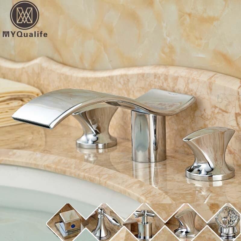 Modern Wave Shape Waterfall Bathroom Bath Tub Sink Faucet Deck Mount Dual Handles Basin Hot and Cold Mixer Taps