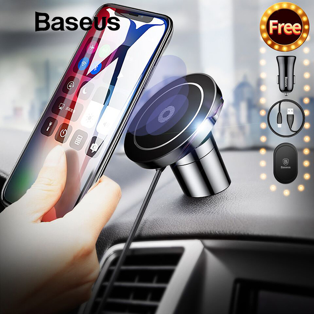Baseus Fast Qi Wireless Charger For iPhone X 8 Plus Samsung S9 S8 Wireless Charging Charger Pad Magnetic Car Phone Holder Stand