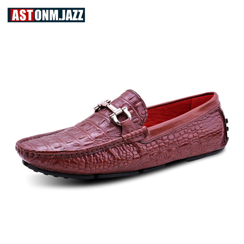 Men's Slip-on Loafers Casual Crocodile Leather Loafers Breathable Moccasins Shoes Boat Shoes Driving Shoes Flat Shoes For Men men s crocodile emboss leather penny loafers slip on boat shoes breathable driving shoes business casual velet loafers shoes men