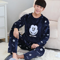 Free shipping Autumn and winter long-sleeve male thickening flannel plus size sleepwear male cartoon coral fleece lounge set