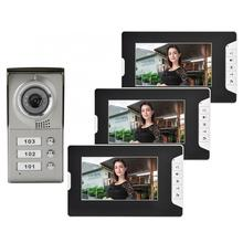 Apartment 3 Units Wired Video Door Phone Audio Visual Doorbell Intercom Entry System motion sensor bell smart door bell цена