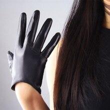 Women's Genuine Leather Gloves Female New Touch Screen Gloves Fashion Warm Black Gloves European Version Goatskin Mittens TB11