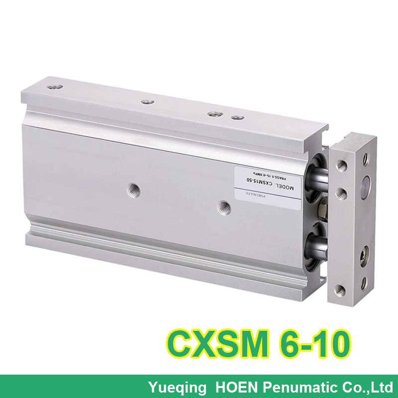 CXSM6-10 High quality miniature double rod pneumatic cylinder 6mm bore 10mm stroke CXSM 6-10 double acting with slide bearing high quality double acting pneumatic gripper mhy2 25d smc type 180 degree angular style air cylinder aluminium clamps