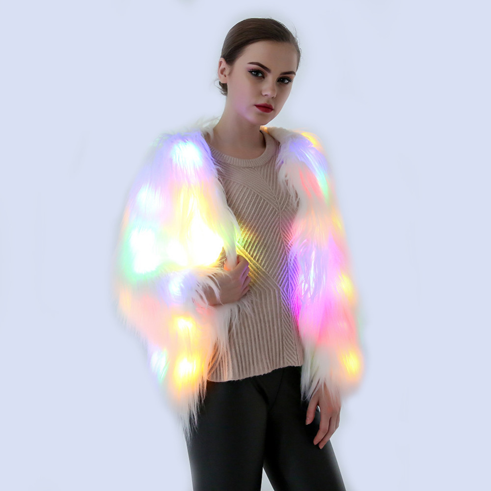 Large Size LED Light Coat Women Faux Fur Outdoor Party Costumes Cosplay Jacket Festival Winter Warm Party Club Hip Pop Outwear 2017 astrid big size winter women s jacket coat warm down jacket women s large parkas new winter cotton outwear am 2680