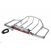 Chrome Motorcycle LED Air Wing Tour Pak Pack Trunk Luggage Rack For Harley Road King Glide 1993 2013