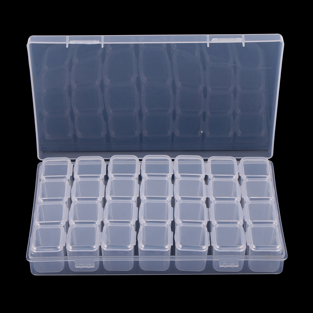 28 Slots Clear Plastic Storage Container Jar Organizer Box With Lid For Beads Crafts Jewelry Findings