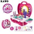 KAWO 21 unids/set Juegos de imaginación Juguetes Set Para Niños Kids Simulación Tocador Cosmético Caja de Bebé Educativos Juguetes Clásicos