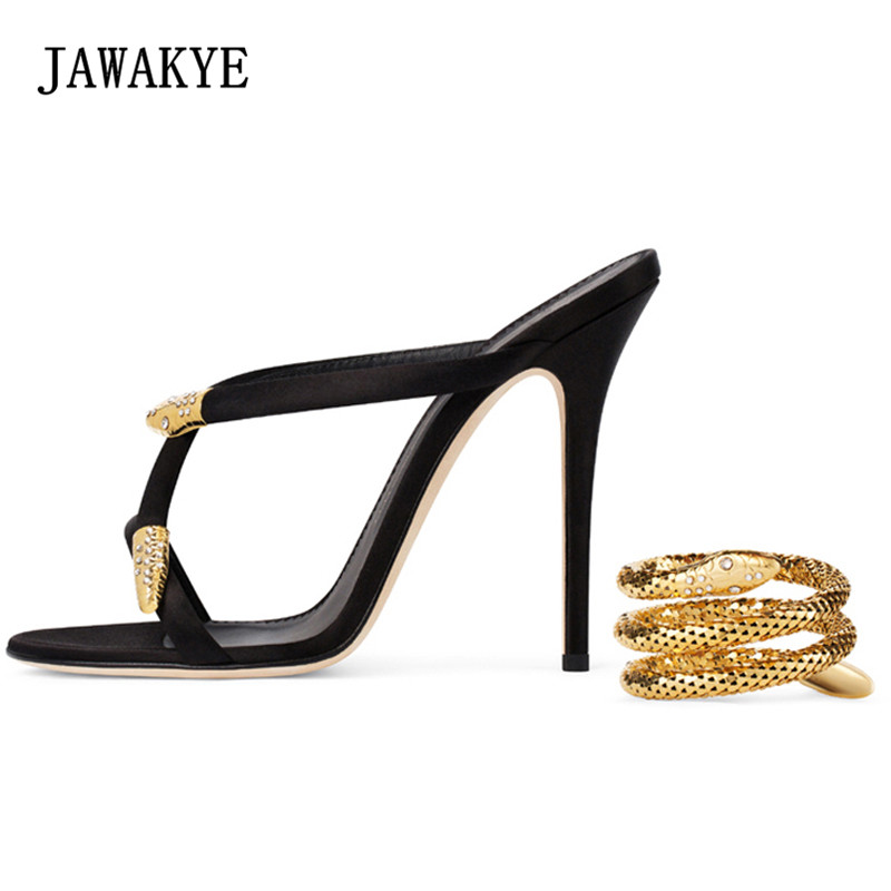 2018 Gold Snake Ankle Strappy Gladiator Sandals Women Open Toe Luxury Satin High Heel Shoes Woman Fashion Party Shoes цена 2017