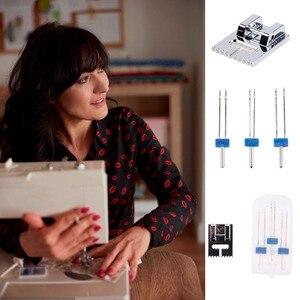 Image 3 - 3 unidades/juego de agujas dobles + prensatelas arrugadas para máquina de coser, tamaño 2/90 3/90 4/90, accesorios multifuncionales, aguja
