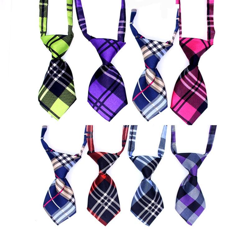 100pcs Plaid style Pet Dog Neckties Dog Ties Bowtie Grid Pet Dog Neck Accessories Pet Supplies