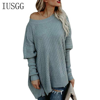 цена на Elegant Women Loose Sweater Casual Zipper Hem Knitted Pullover Female Batwing Sleeve Solid Jumper Knitwear Women Sweaters and Pu