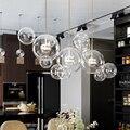 Современные стеклянные пузырьки светодиодные подвесные светильники медные металлические столовые светодиодные подвесные лампы для гости...