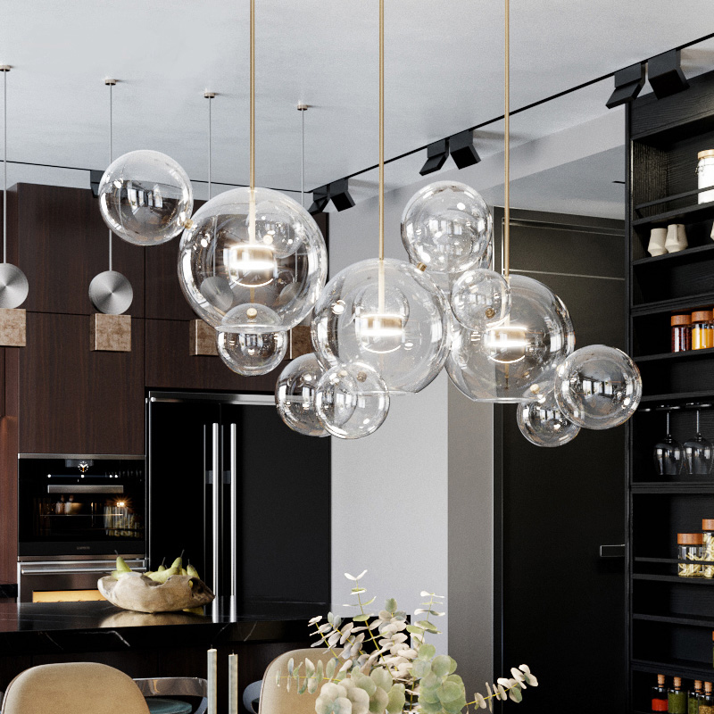 Us 75 54 44 Off Modern Gl Bubbles Led Pendant Lights Copper Metal Dining Room Lamp Living Light Fixtures For Bedroom In