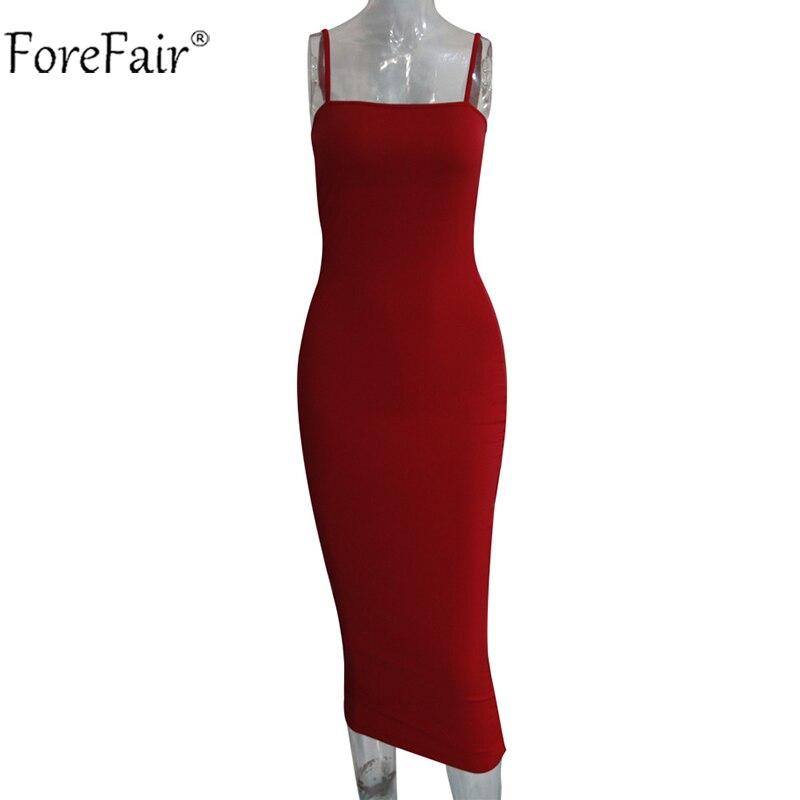 HTB1NceBXirxK1RkHFCcq6AQCVXah - Forefair Sexy Spaghetti Strap Bodycon Midi Dress Women Summer Black White Red Sleeveless Basic Party Night Long Dress Autumn