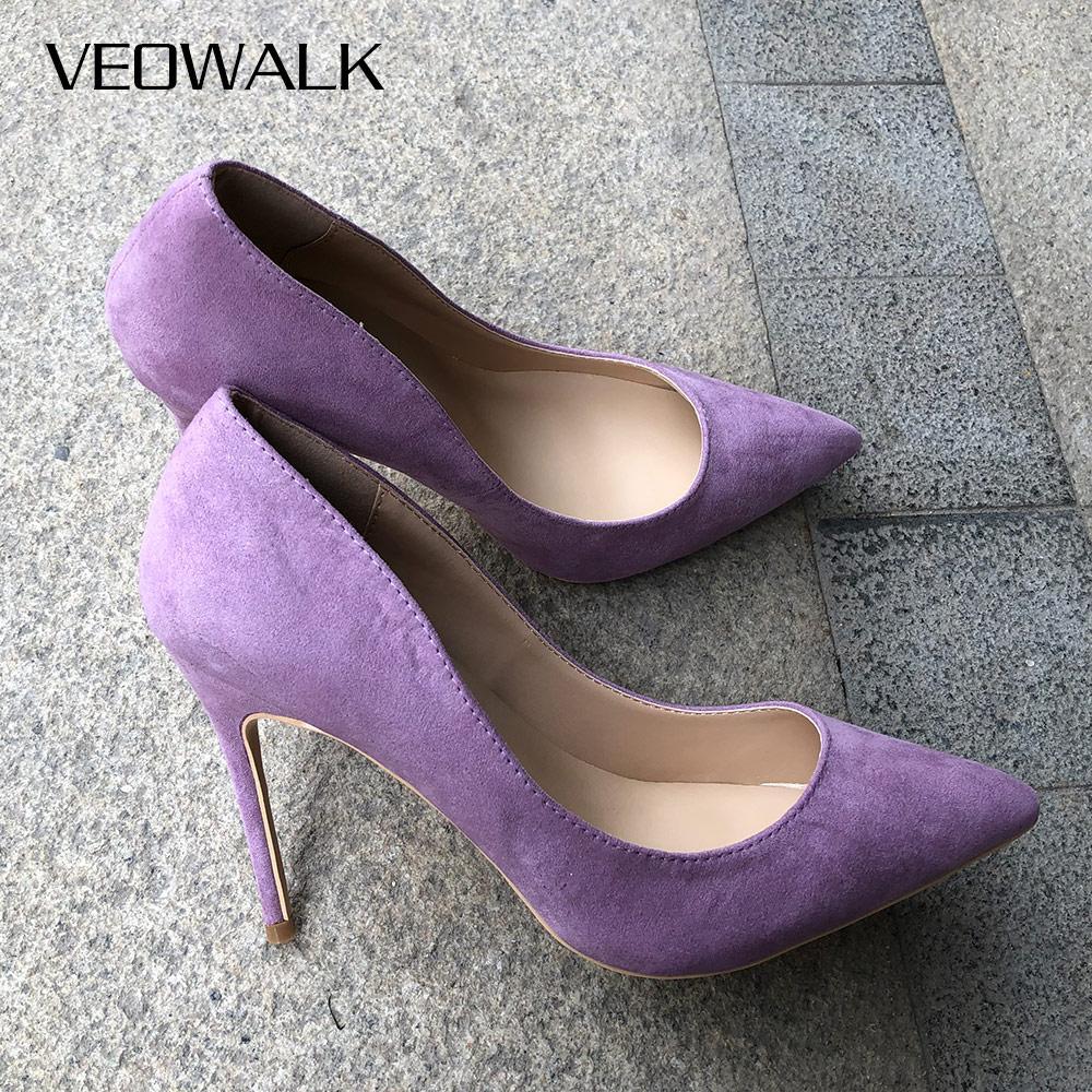 Veowalk Microfiber Suede Women Pointed Toe High Heel Shoes Solid Light Purple Pumps Sexy Ladies Fashion Party Wedding Stilettos
