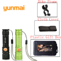 USB Inside 16340 Battery XML-T6 Powerful Led Flashlight LED Torch Usb Flash Light Pocket Rechargeable Zoom Tactical Flashlight