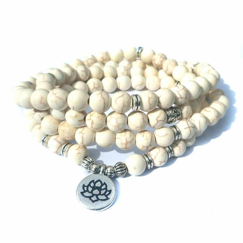 10 מודלים 108 אבן מחרוזת חרוזים צמידים לנשים בודהה צמיד גברים תכשיטי לוטוס תליון בציר רב שכבתי תכשיטי יוגה